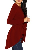 Eye Catching Burgundy Round Collar Blouse With Waistband For Women