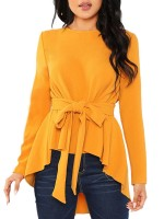 Lavish Yellow Round Neck Waist Tie Shirt Full Sleeve Womens Apparel