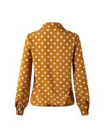 Characteristic Yellow Shirt Polka Dots Long Sleeve Button Outfit