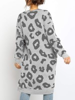 Appealing Gray Midi Length Cardigan Full Sleeve Ladies Elegance