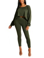 Elegant Army Green Solid Color Top High Rise Pants Set Streetstyle
