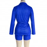 Romans Blue Two Pieces Waist Tie Top High Rise Suit Trendy Clothes