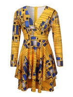 V-Neck African Zip At Back Mini Dress