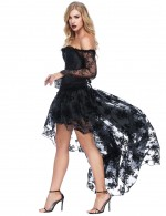 Ultimate Stretch Full Sleeve Black Floral Lace Corset Sets