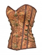 Plus Size Firm Sculpture Brown Chain Rivet Decor Corset 12 Steel Bone