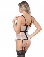 Flawless Mesh Apricot Corset Contrast Color Defined Waist Superfit