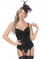 Eye-Catching Black Cami Straps Overbust Corset With Lace Bodycon