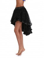 Simplicity Black Flunce High Low Hem Skirt Floral Pattern Plus