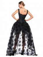 Gothic Black 14 Plastic Boned Corset Skirt Sets Superfit Everyday