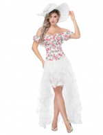 Body Sculpting White Flower Print Bustier And Lace Skirt Off Shoulder