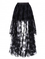 Unique Black Floral Pattern Skirt Elastic Waist Slim