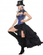 Ultra Hot Blue 16 Plastic Bones Corset Skirts Set Flower Figure Slimmer
