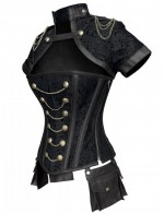 Appealing Black 12 Steel Bones Chains Jacquard Overbust Corset Ultra Cheap