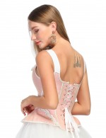 Good Light Pink Wide Straps Bustier Top 14 Plastic Bones High Quality