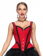 Stylish Red Jacquard 14 Plastic Boned Corset Busk Fashion Insider
