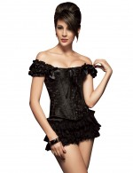 Elegant Black 12 Steel Boned Ruched Bow Corset Overbust Body Sculpting