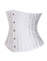 Authentic White 26 Steel Boned Underbust Corsets Jacquard Queen Size Top Comfort