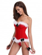 Slinky Red 12 Plastic Boned Santa Bustier With Thong Visual Effect