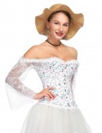 Durable Flare Sleeved Corset 12 Plastic Bones Ultimate Stretch