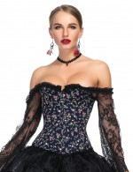Romantic Off Shoulder Frilled Bustier Floral Print Best Materials
