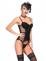 Perfect Black Dot Elastic Lace Bustier And G-String Bowknot For Party