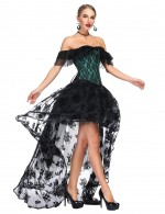 Appealing Green Layered Flounce Off Shoulder Bustier Two Pieces Ultra Cheap