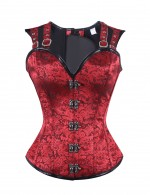 Skin Friendly Double Buckle Straps 12 Bones Overbust Corset Fashion