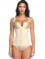 Breathe Freely Nude U Shape Neck Plus Latex Waist Trainer Cami Straps