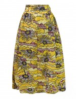 African Pleated Print Splendid Ankle Length Skirt With Belt