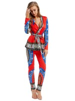 Cheeky Red Ethnic Printed Ruffled Two-Piece Tie Women's Clothing