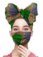 Effortless Green Colorblock Headscarf Anti-Dust Batik Mask For Street Snap