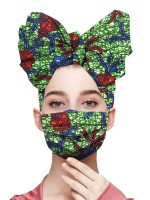 Abstract African Paint Cotton Headscarf And Mask Fashion Sale