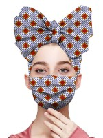 Professional Plaid Print Ruched Headscarf Elastic Mask Cheap Online