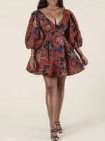Relaxed African Pattern Deep V-Neck Mini Dress Classic Clothing