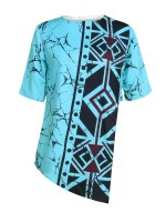 Delightful Blue Elbow-Sleeve Irregular Hem African Top Comfort Fabric