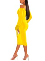 Bodycon Fit Yellow Long Sleeve Bodycon Dress Cold Shoulder Delightful Garment