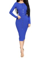 Blue Round Neck Bodycon Dress Long-Sleeved Contouring Sensation