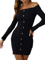 Beautifully Designed Black Long Sleeve Bodycon Dress Flat Shoulder