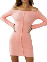 Honey Pink Full Sleeve Bodycon Dress Front Button Preventing Sweat