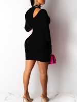 Alluring Black Long Sleeve Cutout Bodycon Dress Fashion For Women