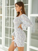 Form-Fitting Flared Sleeve Bodycon Dress Pleated For Couple