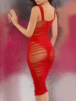 Distinctive Red Open Back Bodycon Dress Zipper Backless Sexy Ladies
