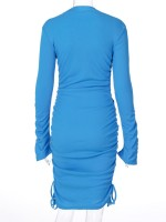 Blue Mini Dress Half Neck Solid Color For Camping