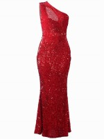 Exquisite Red Evening Dress Sequin Maxi Length Casual Wear