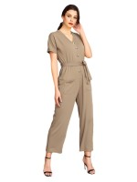 Glorious Army Green Knot Waist V Neck Romper With Pocket For Women