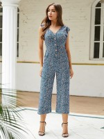 Refined Blue V-Collar Jumpsuit Straight-Leg Visual Effect