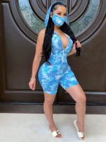 Bewildering Light Blue V-Neck Sleeveless Rompers Tie-Dye Zipper