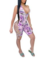 Mid-Thigh Length Purple Jumpsuit Dollar Pattern Super Sexy