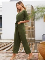 Lightweight Army Green Tie Jumpsuit V Collar Solid Color