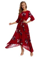 Chic Wine Red Floral Print Maxi Dress High Rise Modern Fashion